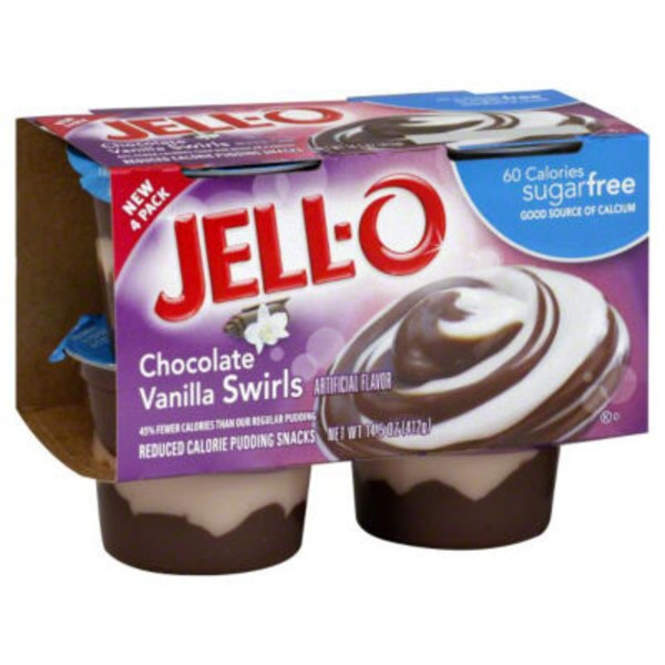 Jell O Ready To Eat Sugar Free Chocolate Vanilla Swirls Reduced Calorie Pudding Snacks