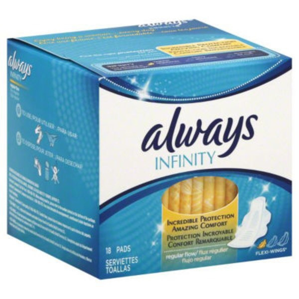 Always Infinity Always Infinity Size 1 Regular Pads with Wings, Unscented, 18 ct Feminine Care