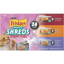 Friskies Wet Cat Food Savory Shreds Variety Pack Pack of 24