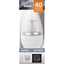 Great Value LED Daylight Globe Dimmable Light Bulb