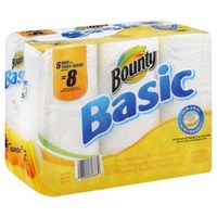 Bounty Basic Basic Bounty Basic Paper Towels, White, 6 Big Rolls = 8 Regular Rolls Towels/Napkins