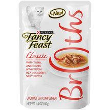 Purina Fancy Feast Broths Classic with Tuna Anchovies and Whitefish Cat Food Pouch