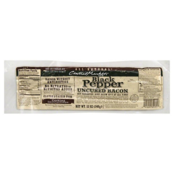 Central Market Black Pepper Uncured Bacon
