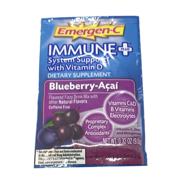Emergen-C Immune Plus Blueberry Acai Fizzy Drink Mix
