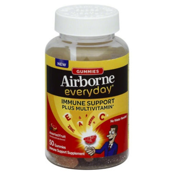 Airborne Everyday Plus Multivitamin Assorted Fruit Gummies Immune Support Supplement