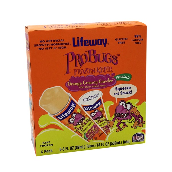 Lifeway ProBugs Frozen Kefir Orange Creamy Crawler - 6 PK