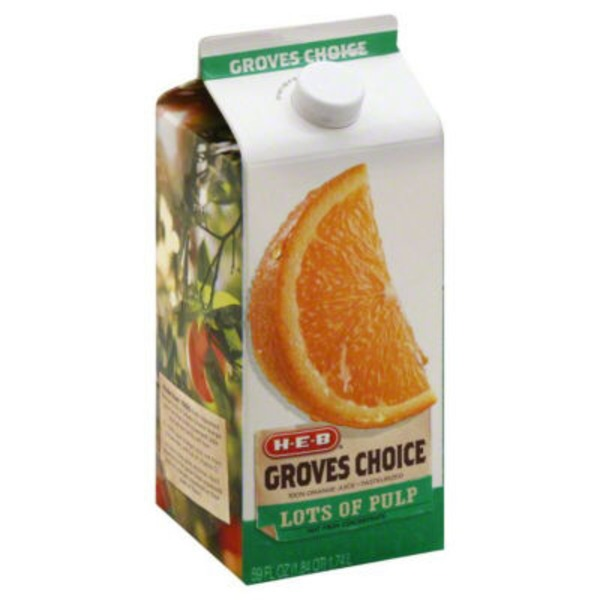 H-E-B Growers Choice 100% Orange Juice Pasteurized Lots Of Pulp Not From Concentrate