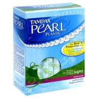 Tampax Pearl Tampax Pearl Plastic Super Absorbency, Scented Tampons 18 Count  Feminine Care
