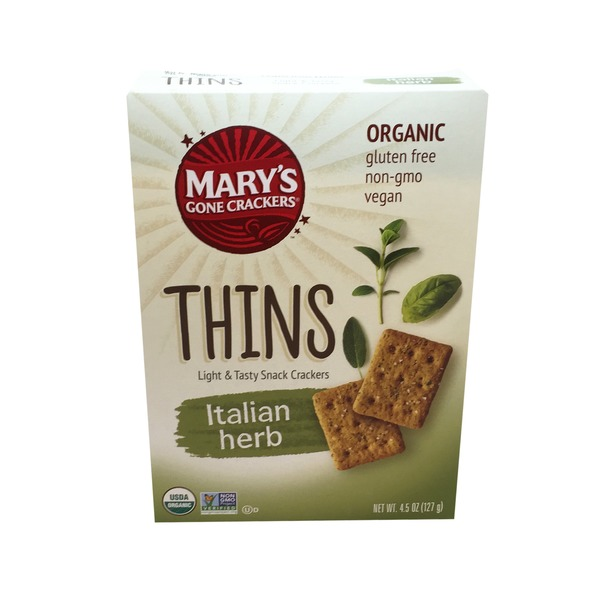 Mary's Gone Crackers Thins Light & Tasty Snack Crackers Italian Herb