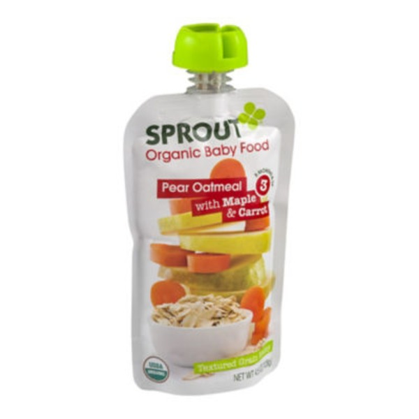 Sprouts Organic Baby Food Pear Oatmeal with Maple & Carrot 3