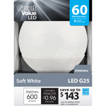 Great Value LED 8W Soft White Globe Light Bulb