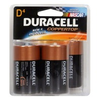 Duracell CopperTop Alkaline D Batteries 4 Count  Primary Major Cells