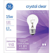 GE crystal clear 15 watt A15