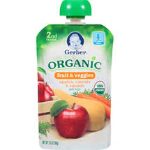 Gerber Organic 2nd Foods Apples Carrots & Squash Baby Food