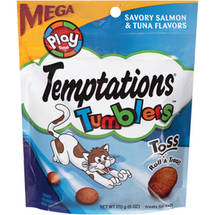 Temptations Tumblers Savory Salmon and Tuna Flavors Treats for Cats Pouch