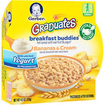 Gerber Graduates Breakfast Buddies Bananas & Cream Hot Cereal with Real Fruit & Yogurt