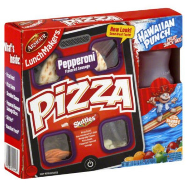 Armour Pizza Pepperoni Flavored Sausage with 6.75 fl oz Hawaiian Punch Fruit Juicy Red LunchMakers