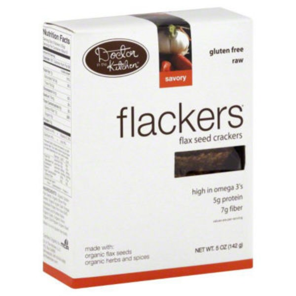 Flackers Doctor in the Kitchen Flackers Organic Flax Seed Crackers Savory