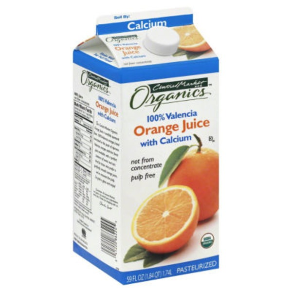 Central Market 100% Valencia Orange Juice With Calcium Not From Concentrate Pulp Free