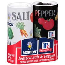 Morton Iodized Salt & McCormick Pepper Shakers