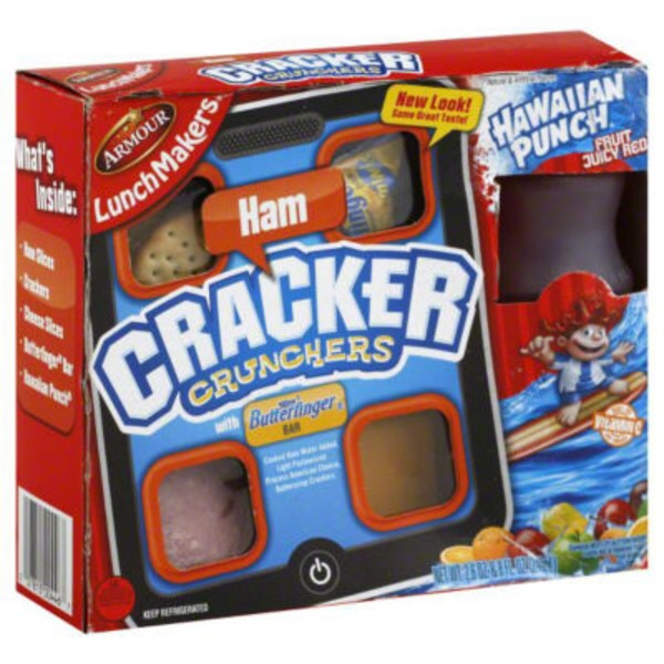 Armour Cracker Crunchers Ham with 6.75 fl oz Hawaiian Punch Fruit Juicy Red LunchMakers