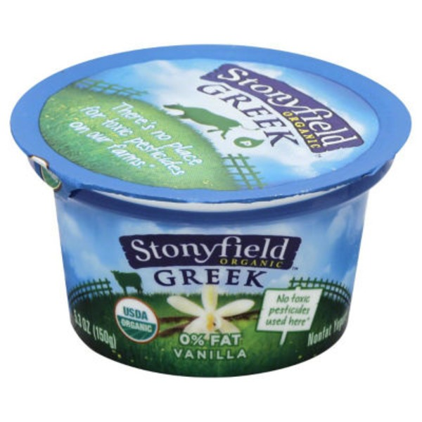 Stonyfield Organic 0% Fat Vanilla Organic Greek Yogurt