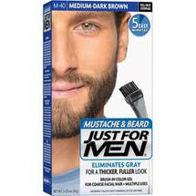 Just For Men Mustache & Beard Brush-In Color Gel Medium-Dark Brown M-40