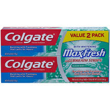 Colgate MaxFresh Clean Mint Toothpaste with Mini Breath Strips
