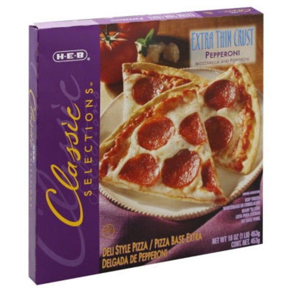 H-E-B Classic Selections Extra Thin Crust Pepperoni Pizza
