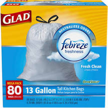 Glad OdorShield Tall Kitchen Drawstring Trash Bags Fresh Clean
