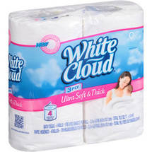 White Cloud Ultra Soft & Thick Double Roll Bath Tissue Rolls