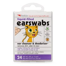 Petkin Liquid-Filled EarSwabs Ear Cleanser & Deodorizer for Cats