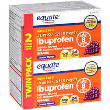 Equate Junior Strength Grape Flavor Ibuprofen Pain Reliever/Fever Reducer Chewable Tablets (Pack of 2)