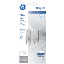 GE halogen 50 watt T4 2-pack