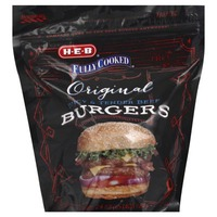 H-E-B Fully Cooked Original Juicy & Tender Beef Burgers