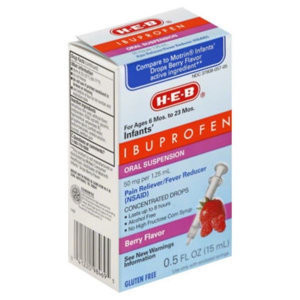 H-E-B Infants' Ibuprofen 50 Mg Drops For Ages 6 Mos. To 23 Mos. Berry Flavor Oral Suspension