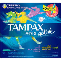 Tampax Pearl Active Plastic Regular Absorbency Tampons Multipax Regular/Light/Super (Choose your Count)