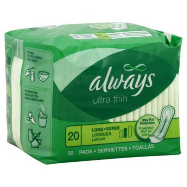 Always Thin Ultra Always Ultra Thin Size 2 Long Super Pads Without Wings, Unscented, 20 count Feminine Care