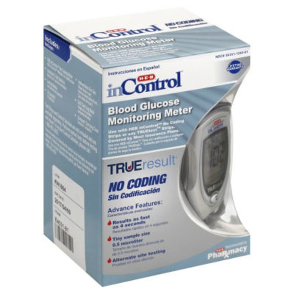 H-E-B In Control No Coding Tru Eresult Blood Glucose Monitoring Starter Kit