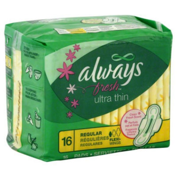 Always Fresh Always Ultra Thin Fresh Active Regular Pads With Wings 16 count Feminine Care