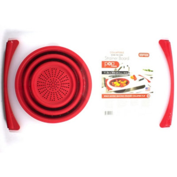 Dexas Red Over The Sink Strainer & Cutting Board