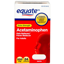 Equate Acetaminophen Extra Strength 500Mg/Non Aspirin Pain Reliever