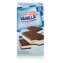 Great Value Vanilla Flavored 97% Fat Free Ice Cream Sandwiches