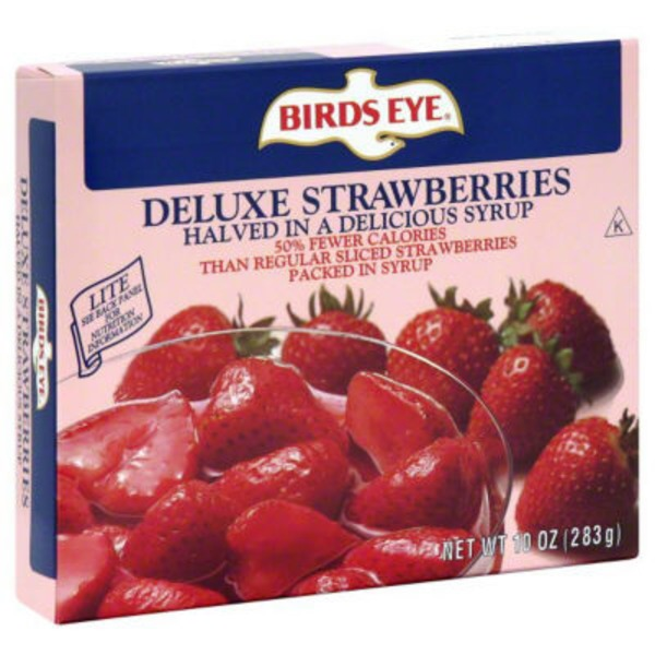 Birds Eye Lite Deluxe Halved In Lower Calorie Syrup Strawberries