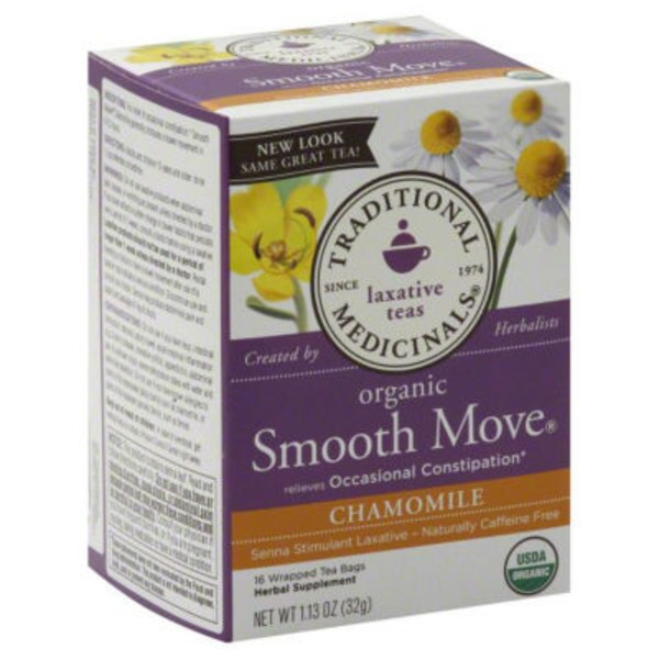 Traditional Medicinals Caffeine Free Laxative Tea Bags Smooth Move Chamomile - 16 CT
