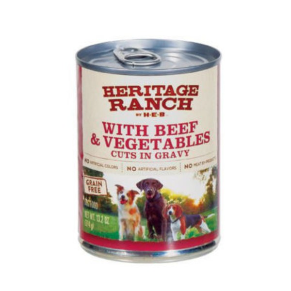 H-E-B Heritage Ranch Dog Food With Beef & Vegetables Cuts In Gravy