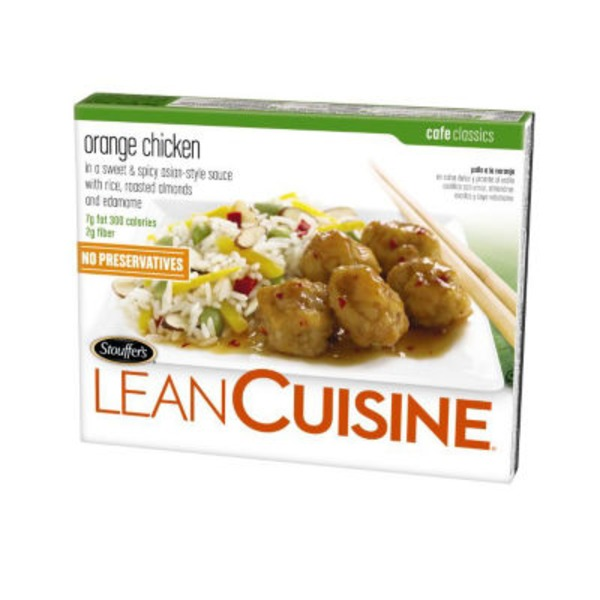Lean Cuisine Marketplace Orange chicken in a sweet & spicy Asian-style sauce with rice, roasted almonds, and edamame Orange Chicken