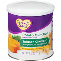 Parent;s Choice Potato Munchers Spinach Cheddar Baked Potato Snack