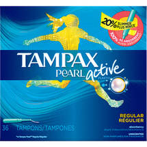 Tampax Pearl Active Plastic Regular Absorbency Tampons (Choose your Count)