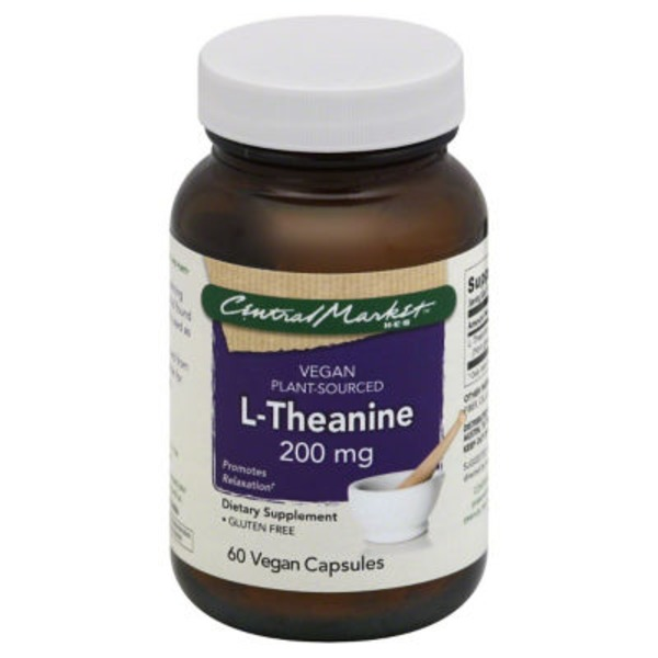 Central Market Vegan Plant Sourced L Theanine Gluten Free Promotes Relaxation, 200mg